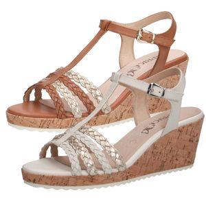 Caprice Damen Sandalen Sandaletten Leder Keilabsatz 9-28712-26, Größe:37 EU, Farbe:Beige