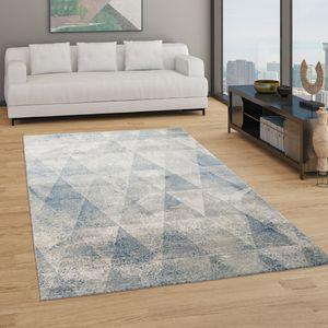 Teppich Wohnzimmer Kurzflor Boho Vintage Design Rauten Muster, In Grau Blau, Grösse:140x200 cm