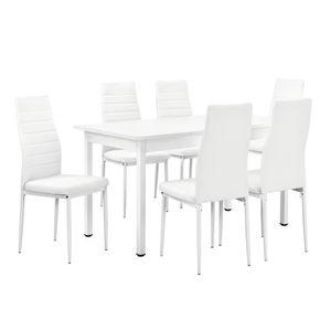 [en.casa]® Esstisch mit Stühle weiß
