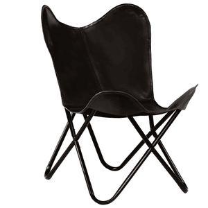 Butterfly Sessel Stuhl im Vintage-Si Schwarz Kindergröße Echtleder