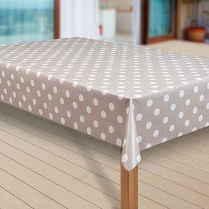 Wachstuch-Tischdecke Wachstischdecke Tischwäsche Abwaschbar Wachstuchdecke |38|, Muster:Punkte beige-grau, Größe:100x140 cm