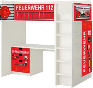 Feuerwehr Aufkleber - SH01 - passend für die Kinderzimmer Hochbett-Kombination STUVA von IKEA - Bestehend aus Hochbett, Kommode (3 Fächer), Kleiderschrank und Schreibtisch - (Möbel Nicht Inklusive)