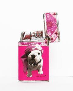 "FEUERZEUG ""Teo Jasmin"" Gas Metall Leder Piezozündung Original Geschenk 3 (Pink)"