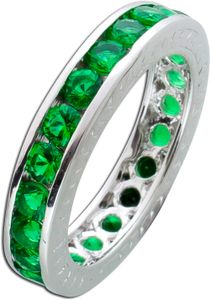 dunkel grüner Memoire Ring Alliancering Silber 925 Smaragd Zirkonia Vorsteckring 18