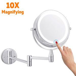Schminkspiegel mit licht, kosmetikspiegel wandmontage, 7inch 10X  Zweiseitig Fache Vergrößerung Touchscreen Aufladen USB Rasierspiegel 360°Schwenkbar für Badezimmer