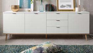 Sideboard Göteborg Anrichte in weiß mit Sonoma Eiche massiv Kommode 200 cm Design skandinavisch