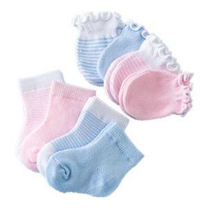 4 Sätze mit 8 Paar Babysocken und Handschuhen, Baumwolle Socken Sommer Frühling Babysöcken Kindersocken Erstlingssöckchen