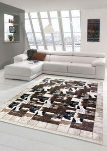 Kuhfell Imitat Teppich Patchwork Print Teppich in Braun Schwarz Creme Größe - 80x150 cm