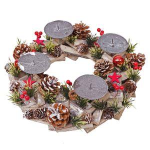 Adventskranz HWC-H50, Weihnachtsdeko Adventsgesteck Weihnachtsgesteck, Holz rund Ø 33cm  ohne Kerzen