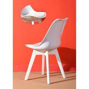 Set mit 4 skandinavischen weißen Esszimmerstühlen