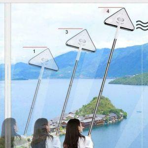 3-Teilige Stange Verstellbar Dreieck Reinigungsglas Mopp 360 ° Drehbares Reinigungswerkzeug + Frei 2 Mopp