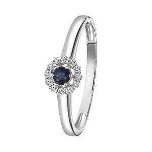 Weißgold-Ring mit Saphir und 12 Diamanten