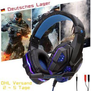 Stereo Gaming Headset für PS4, Xbox One, Nintendo Switch, PC, PS3, Mac, Laptop, Over-Ear-Kopfhörer, PS4 Headset Xbox One Headset mit Surround-Sound, LED-Licht und Rauschunterdrückung Mikrofon(schwarz+blau)