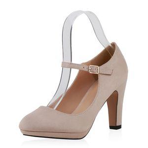 Mytrendshoe Damen Pumps Mary Janes High Heels Blockabsatz 820054, Farbe: Creme, Größe: 38