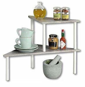 Küchenregal mit 2 Ebenen, Beton-Optik, weiß/Etagenregal/Eckregal/Regal  - Kesper