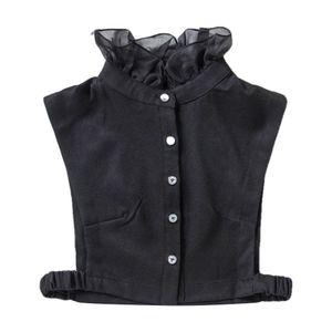 Damen Abnehmbare Blusenkragen Baumwolle Fake-Kragen geeignet für Pullovern Uniformen Jacken usw. Farbe Schwarz