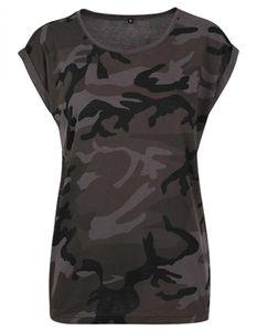 Damen Camo Extended Shoulder Camo Tee - Farbe: Dark Camo - Größe: XXL