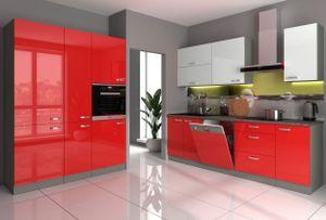 Küche Bianca VI 240 + 160 cm Küchenzeile in Hochglanz Rot Weiss Küchenblock Rose