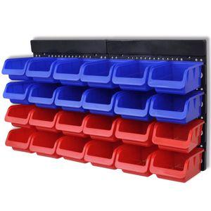 vidaXL Werkstattboxen für die Wand Blau und Rot (2 Aufbewahrungseinheiten)