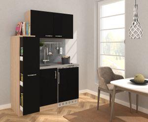 respekta Küche Miniküche Küchenzeile Küchenblock 130 cm Eiche Sägerau schwarz