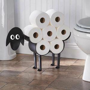 Schaf-Toilettenpapierhalter, 53.5*11.5*23.5 cm, Selbststehend und zur Wandmontage Rollenpapieraufbewahrung für Badezimmer, schwarz