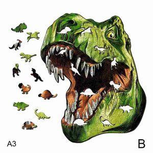 Dinosaurier (B) A5 $ weiß Holz-Puzzle Geschenk erwachsene Kinder verpackt