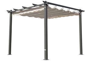 OUTFLEXX hochwertiger Pergola aus solidem, grauem Aluminium, Dachrohre aus Stahl, Dach aus cremefarbenem Textil, inkl. Abdeckung, ca. 300 x 300 x 255 cm, Schiebedach, modernes Design, wetterfest,