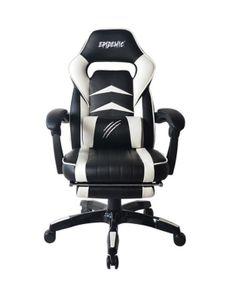 Epidemic Gamingstuhl Bürostuhl Schreibtischstuhl Chefsessel Gaming Sessel PC Stuhl Heimkinosessel Drehstuhl Armlehne Fußstütze höhenverstellbar ergonomisch schwarz/weiß