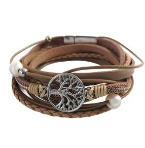 Niklarson Armband Lebensbaum Wickelarmband Beige Magnetverschluß Perlen A748
