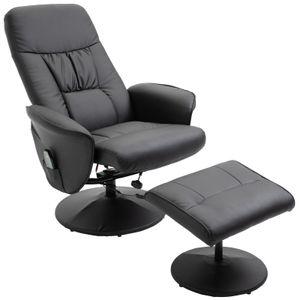 HOMCOM Massagesessel mit Fußhocker Relaxsessel Heizfunktion 145°-Neigung PolyurethanSchwarz 81 x 81 x 105 cm