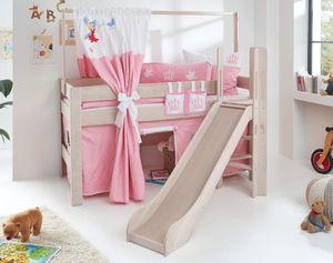 Hochbett LEO Kinderbett mit Rutsche Spielbett Bett Weiß Stoffset Prinzessin
