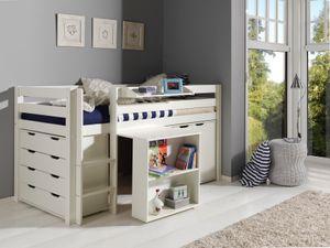 Vipack Spielbett Pino mit Schreibtisch,  Schubladenkommde und Kommode 2-trg. - Bett Kiefer massiv, Beimöbel MDF weiß lackiert, Maße: 210 cm x 114 cm x 106 cm; PICOHSBUKSKD14
