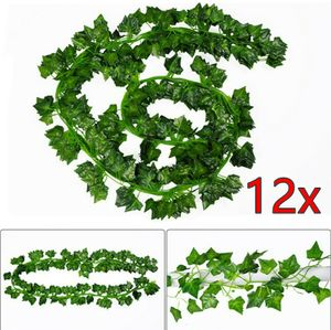 12x 2m Efeugirlande Efeubusch Grünpflanze Künstliche Kunstpflanze Deko Hochzeit