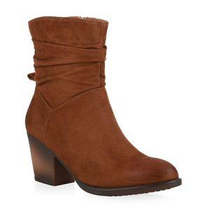 Mytrendshoe Damen Cowboy Boots Stiefeletten Kurzschaft-Schuhe 835612, Farbe: Braun, Größe: 39