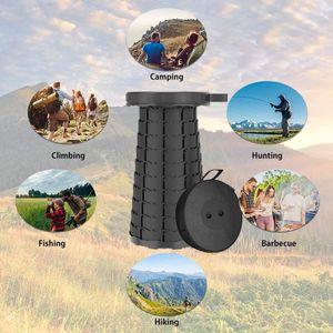Tragbarer Klapphocker, Faltbar Teleskophocker  für Kinder Erwachsene Outdoor Camping Wandern Angeln BBQ  (Schwarz)