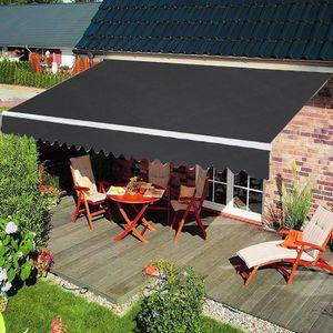 LZQ Gelenkarmmarkise Markise Balkon aus Alu und Polyester, Sonnenschutz Markisenabdeckung mit Kurbel, Wasserdicht Anti-UV für Garten Terrasse Außen (250x200 cm, Dunkelgrau)