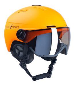 BLACK CREVICE Ski-& Snowboardhelm - Modell CALGARY | Visierhelm | Farbe: Neon Orange | Größe: M/L (58-61 cm)
