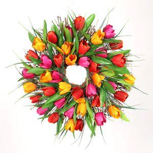 Türkranz Wandkranz Handgefertigte Kunstblumendeko für Zuhause, Parties, 30cm Mehrfarbig