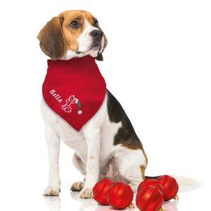 Besticktes Weihnachts Hundehalstuch Weihnachtshund + Name des Hundes rot