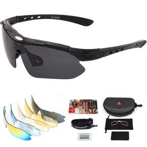 arteesol Fahrradbrille Polarisiert Brille Radsportbrillen mit 5 Wechselgläsern Sportbrillen UV400 Schutz Schwarz