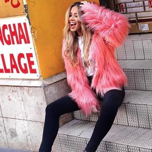 Winter Frauen Faux Pelzmantel Einfarbig Langarm Flauschigen Oberbekleidung Kurze Jacke Behaarte Warme MantelS