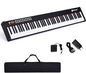 MIDI Keyboard mit Bluetooth, Digital Piano mit 88 Tasten, Elektronisches Klavier mit 128 Rhythmen/Klaenge & 20 Demo-Songs, Elektronisches Piano mit Tragetasche