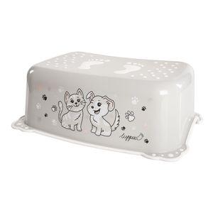 LUPPEE Tritthocker mit Anti-Rutsch-Funktion, Tritthocker Kinder, Kinder Tritt Ab ca. 18 Monate bis ca. 10 Jahren, Hund und Katze, Farbe:Grey