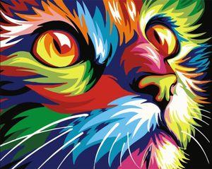Malen nach Zahlen mit 3X Bildschirmlupe 40 x 50cm DIY Leinwand Gemälde für Erwachsene und Kinder, Enthält Acrylfarben und 3 Pinsel - Bunte Katze (Ohne Rahmen)