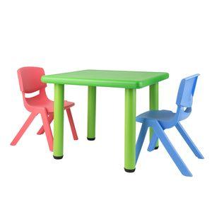 Bieco Kindertisch | Tisch für Kinder 1-8 Jahre | Kinder Tisch ca. 62x 62x 52 cm | Spieltisch höhenverstellbar | Maltisch für Kinder,  Kinderzimmer Tisch klein | Tisch Kinder-Schreibtisch | Grün
