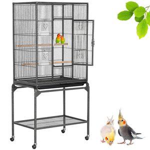 Yaheetech Vogelvoliere Vogelkäfig Voliere Vogelhaus mit Rollen für Nymphensittiche, Papageien 135 cm hoch