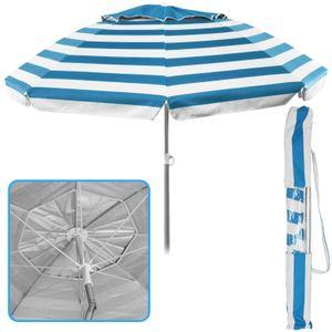 Sonnenschirm Ø 155 cm Marine Streifen hellblau Strandschirm knickbar UV 50+ Sonnenschutz Gartenschirm verstellbar Schirm gestreift