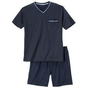XXL Götzburg V-Neck Pyjama kurz navy Fantasiemuster, deutsche Größe:62
