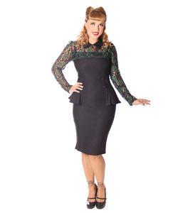 SugarShock Dahee 40er Jahre Schößchen Pencil Spitzen Kleid , Größe:L, Farbe:schwarz grün