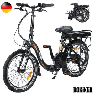 DOHIKER 20 Zoll Elektrisches Fahrrad Electric Bike E-Bike Faltrad E-Bike Citybike Elektrofahrrad mit 10Ah 36V Wasserdicht IP54, Schwarz